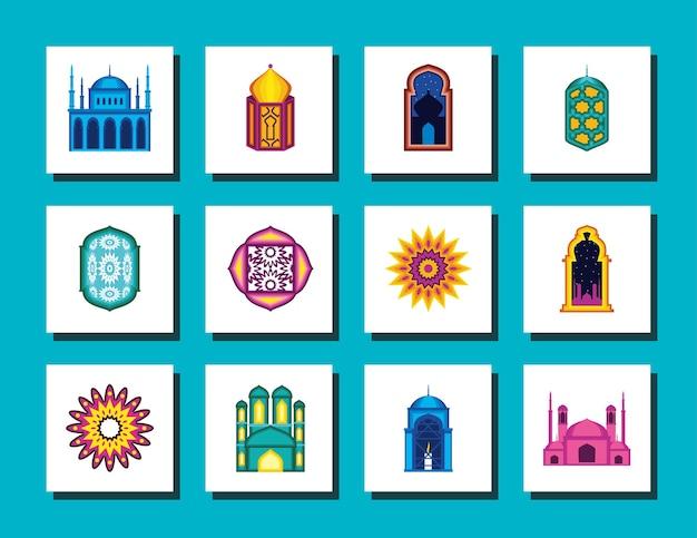Conjunto de mandalas de mesquita árabe