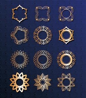 Conjunto de mandalas de ouro em design de fundo azul de ornamento boêmio