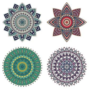 Conjunto de mandalas florais coloridas, ilustração vetorial