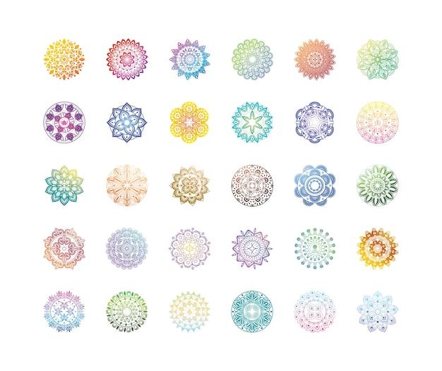 Conjunto de mandalas gradientes ou decorações orientais sobre branco