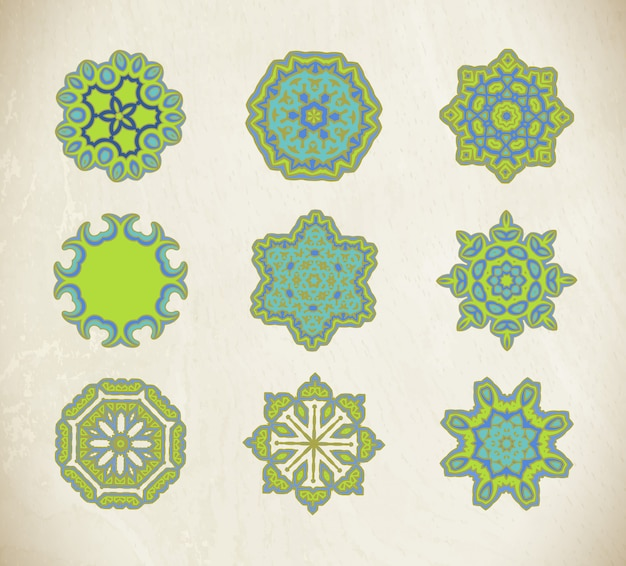 Conjunto de mandalas ornamentais verde