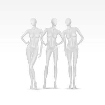 Conjunto de manequins femininos
