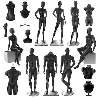 Conjunto de manequins homens mulheres realisyic preto