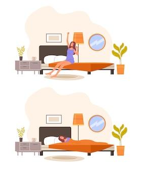 Conjunto de manhã e à noite.