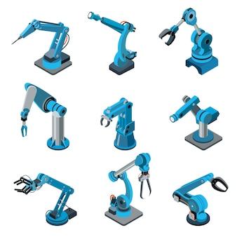 Conjunto de manipulador de robô industrial moderno