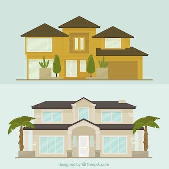 Conjunto de mansões fachadas em design plano