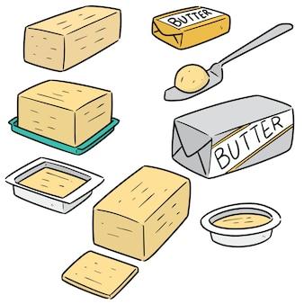 Conjunto de manteiga de desenho animado