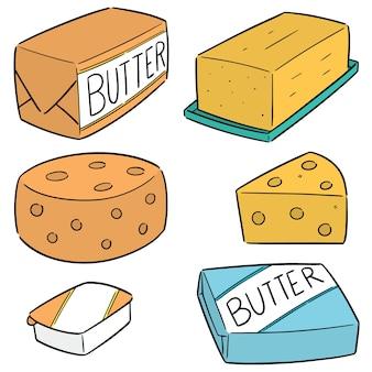 Conjunto de manteiga e queijo