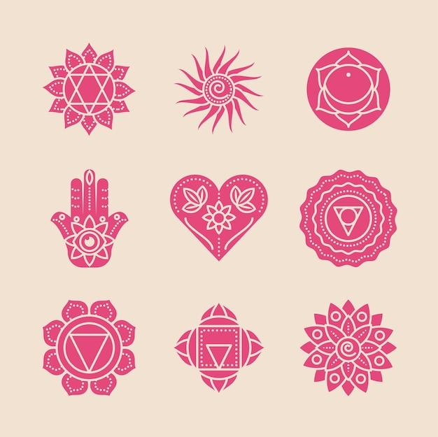 Conjunto de mantras e mandalas de ioga