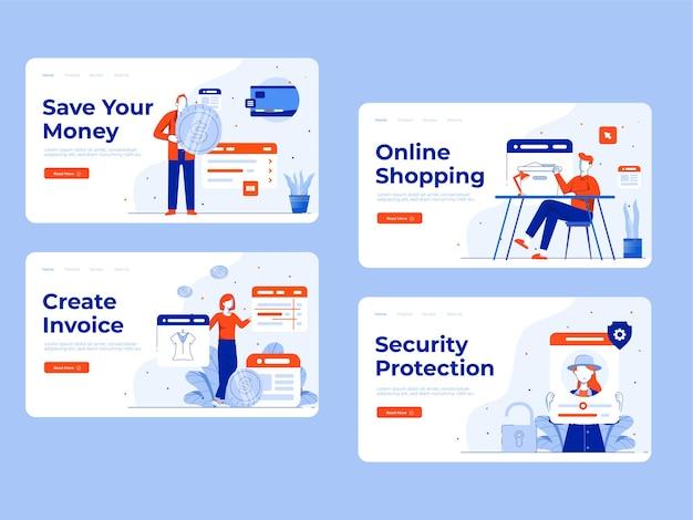 Conjunto de manutenção de loja online, um povo define uma atividade de mercado