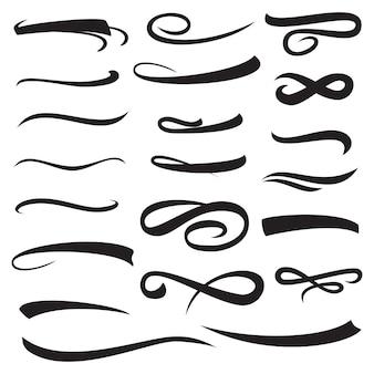 Conjunto de mão amarela letras sublinhadas convexas com sombra isolada.