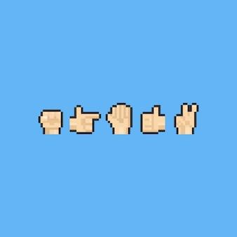 Conjunto de mão de pixel. 8 bits