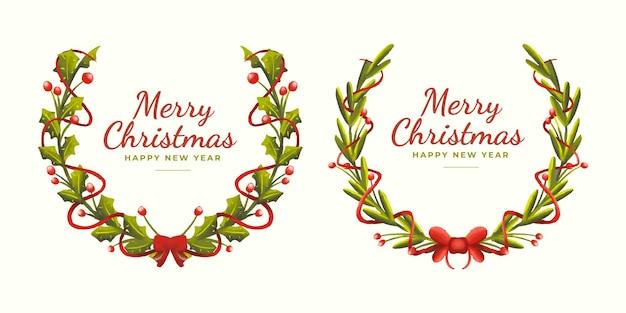 Conjunto de mão desenha enfeites de grinaldas de natal florais fofos com fita fofa