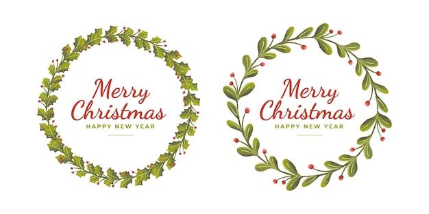 Conjunto de mão desenha grinaldas de natal florais fofas para o natal