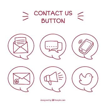 Conjunto de mão desenhada botões de contacto