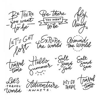 Conjunto de mão desenhada caligrafia na moda linear. férias de verão e citações de férias, frases e palavras da rotulação.