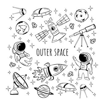 Conjunto de mão desenhada com astronauta, satélite, foguete e planetas em estilo doodle.
