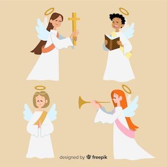 Conjunto de mão desenhada de anjos de natal