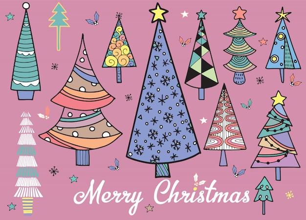 Conjunto de mão desenhada de árvores de natal. fundo de feriados. abstrato