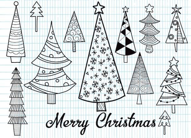 Conjunto de mão desenhada de árvores de natal. fundo de feriados. doodle abstrato desenho de madeiras