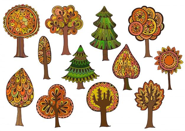 Conjunto de mão desenhada de árvores de outono