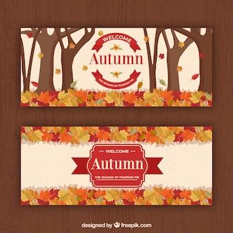Conjunto de mão desenhada de banners de outono