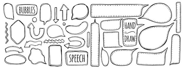 Conjunto de mão desenhada de bolhas do discurso.