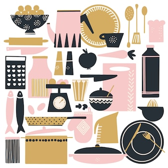 Conjunto de mão desenhada de coisas de cozinha escandinavo fofos