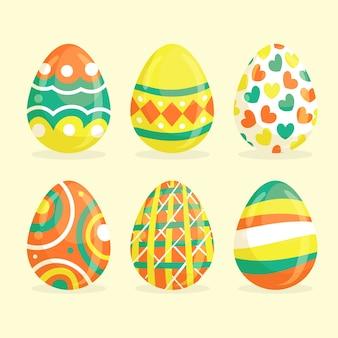 Conjunto de mão desenhada de coleção de ovos de dia de páscoa