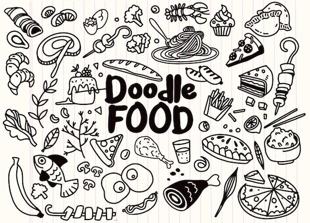 Conjunto de mão desenhada de comida doodles ingrediente com letras em vetor