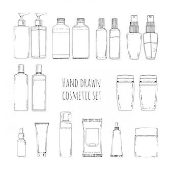 Conjunto de mão desenhada de cosméticos para cuidados com a pele. rabiscos de frascos de cosméticos e embalagens de cosméticos. conjunto de frascos de cosméticos para shampoo, cremes, tônico.