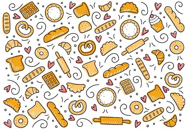 Conjunto de mão desenhada de elementos de padaria. estilo doodle.