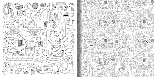 Conjunto de mão desenhada de festa adulta e padrão sem emenda ilustrações de doodle em vetor
