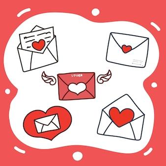 Conjunto de mão desenhada de ilustração de ícone de carta de amor.