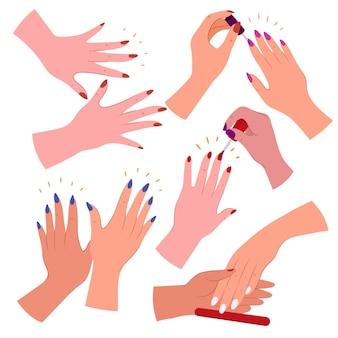 Conjunto de mão desenhada de manicure