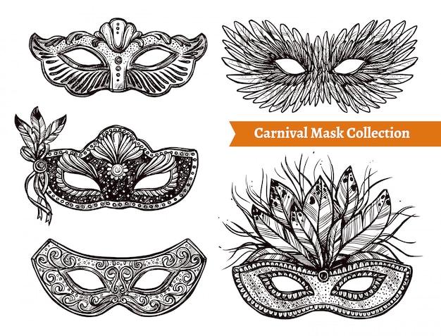 Conjunto de mão desenhada de máscara de carnaval