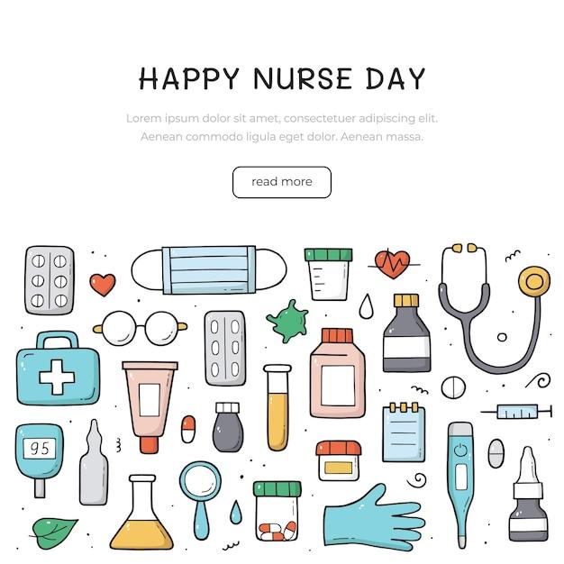 Conjunto de mão desenhada de objetos, elementos e itens em cores de doodle médico. projeto do dia internacional da enfermeira.