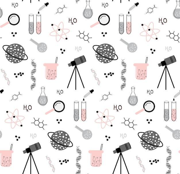 Conjunto de mão desenhada de padrão sem emenda de elementos de ciência