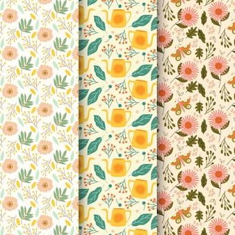 Conjunto de mão desenhada de padrões de primavera