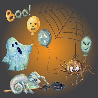 Conjunto de mão desenhada de personagens de desenhos animados de halloween
