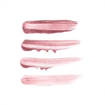 Conjunto de mão desenhada de pincel rosa ouro