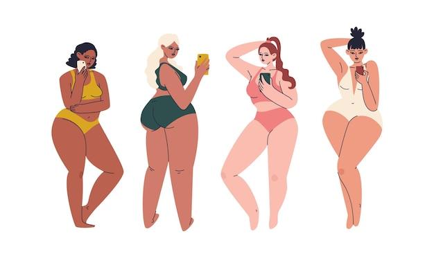Conjunto de mão desenhada de plus size mulheres com smartphone.