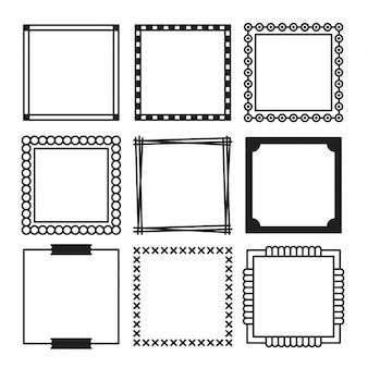 Conjunto de mão desenhada de quadros simples quadrados pretos e fronteira com formas diferentes.