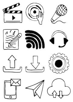 Conjunto de mão desenhada de sinal de mídia social