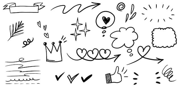 Conjunto de mão desenhada de swish encaracolado, swashes, swoops. setas abstratas, seta, coração, amor, estrela, folha, sol, luz, coroa, rei, rainha, no estilo doodle para design de conceito. ilustração vetorial.