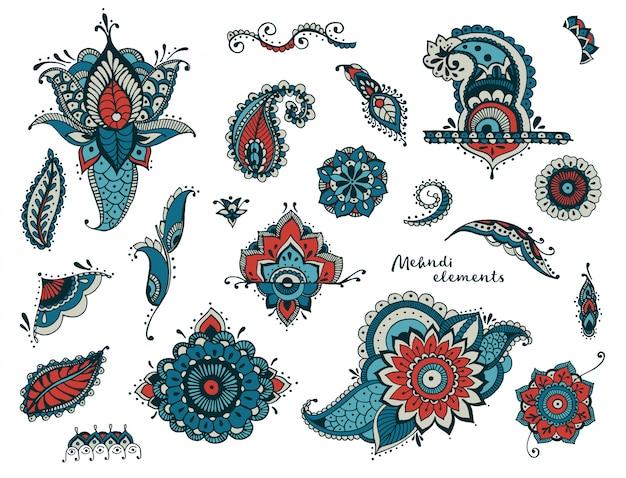 Conjunto de mão desenhada diferentes elementos mehndi. flores estilizadas, florais, folhas, coleção estampada indiana.