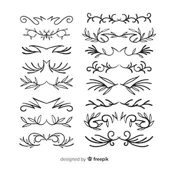 Conjunto de mão desenhada divisor ornamental