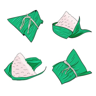 Conjunto de mão desenhada dragão barcos zongzi