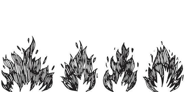 Conjunto de mão desenhada fogo e bola de fogo, isolado no fundo branco. ilustração em vetor doodle.