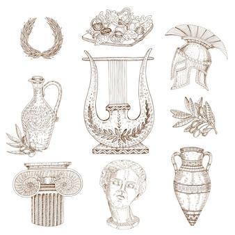 Conjunto de mão desenhada grécia